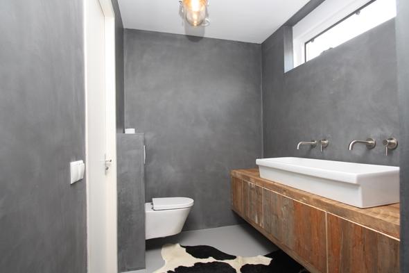 Badkamer Met Beton : Badkamer in beton ciré